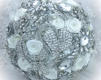 Classic Rich Pure White Lots of Crystals Bling Wedding Brooch Bouquet.