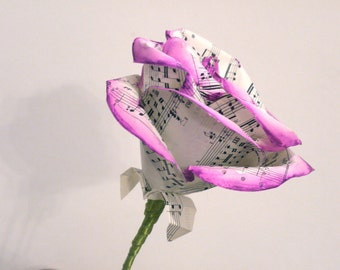 Extra large purple music rose,  vintage sheet music paper rose, upcycled paper decoration, paper flower, sheet music bouquet