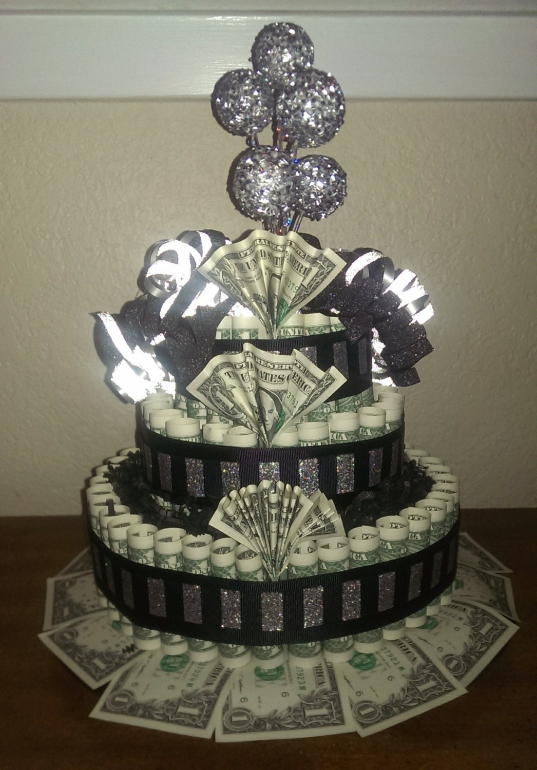 money birthday cake custom birthday black amp silver money cake gift 5988