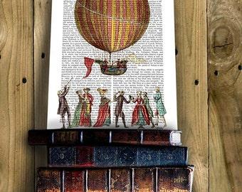 Vintage Hot Air Balloon Print And People, Upcycled Dictionary Print, Balloon Illustration wall art wall decor wall hanging book art