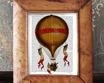 La Chambre Hot Air Balloon Print, Upcycled Dictionary Print, Balloon Illustration wall art wall decor wall hanging hot air balloon decor