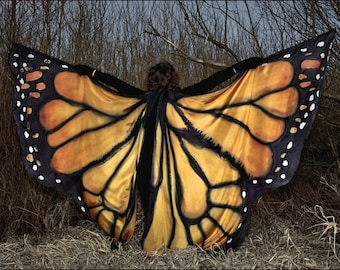 Orginal Monarch butterfly - hand painted silk Isis wings. Made to order - multicolored, ombre, pattern. bellydance , orient dance