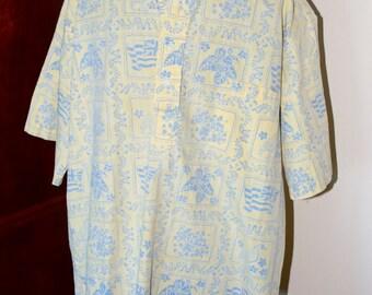 Vintage Reyn Spooner Lahaina Sailor Yellow & Blue Hawaiian Shirt