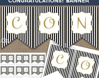 Congratulations Banner - Printable Congratulations Instant Download Banner - Black Gold Glitter Party Decorations - BGL
