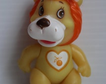SOMA LOVE PETS, Yellow Lion figure, Poseable yellow figure, Lion with orange mane, vintage knockoff figure, lion with orange on stomach