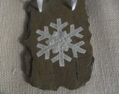 OOAK Snowflake Ornament Hand-painted on Vintage Slate with Free Shipping - SNFLK3
