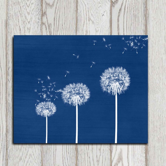 Blue Dandelion Print Navy Home Decor Dandelion Wall By