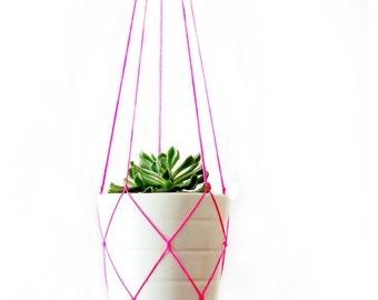 Simple Modern Macrame Plant Hanger - 42 inches long - Red - Pink - Orange - Yellow - Green - Blue - White - Grey - Black