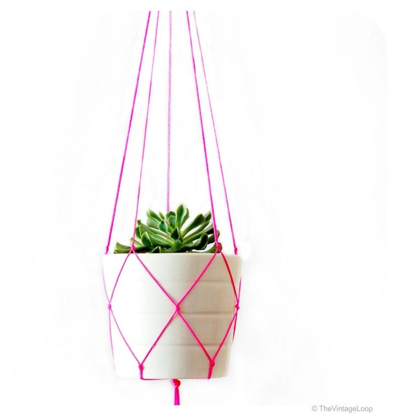 Simple Modern Macrame Plant Hanger 42 Inches Long Red