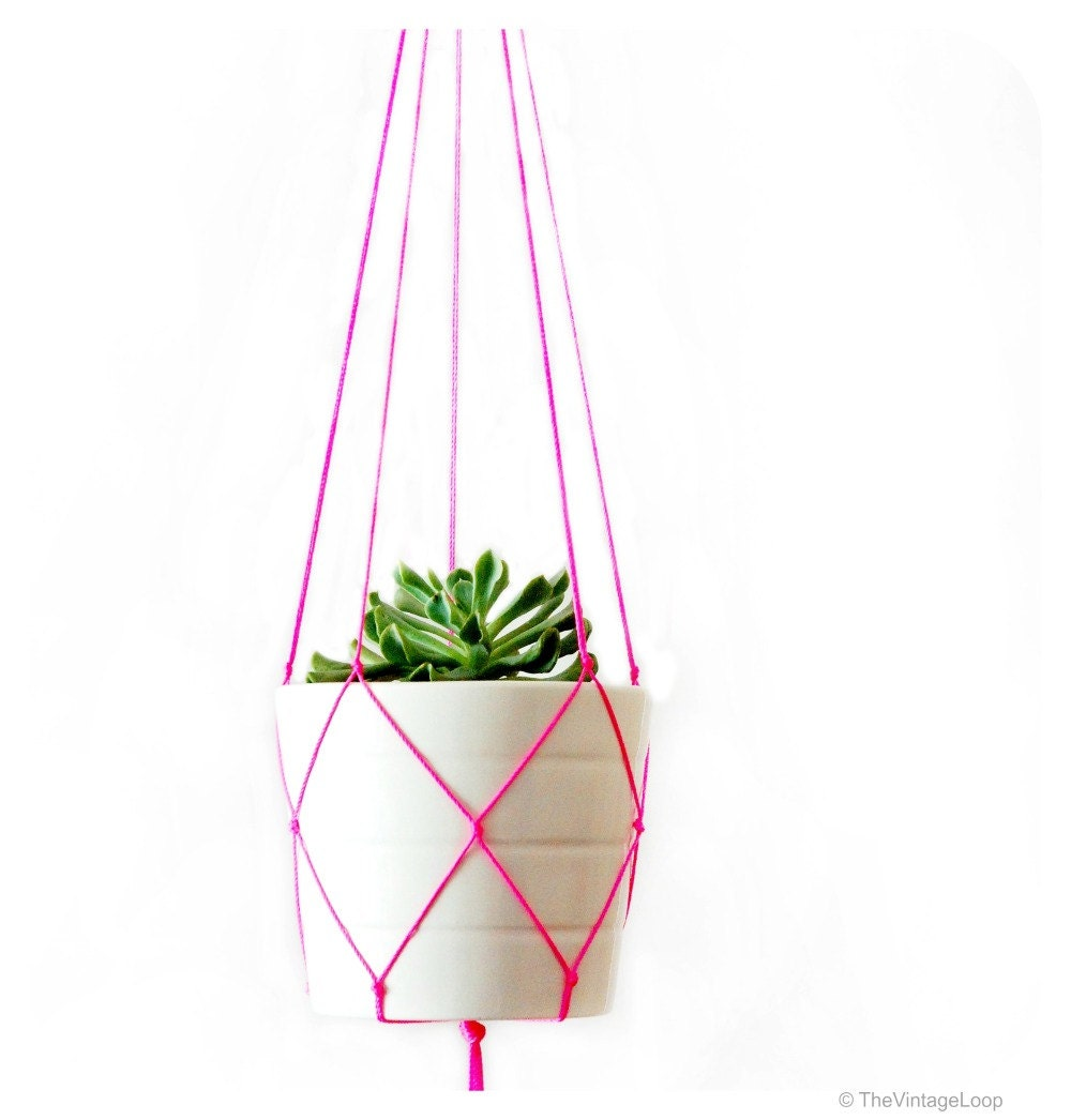 Simple Modern Macrame Plant Hanger 42 inches long Red - photo#37