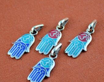 Hamsa Charm,Om Charm,Hamsa Pendant,Hand of Fatima,Hamsa,Hand of Hamsa,Hamsa with Om,OM Charm,Tibetan, Nepal Charms, Nepal Pendants,One Charm