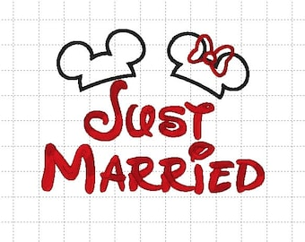"""Minnie Mickey Mouse """"Just Married"""" Disney Wedding Applique Embroidery Digital Design Pattern - INSTANT DOWNLOAD ~ 4x4, 5x7 and 6x10 Sizes"""