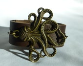Cthluhu Cuff Bracelet Octopus Bracelet Brown Leather Cuff Bracelet Antiqued Gold Charm Bracelet Geek Horror Bohemian Jewelry