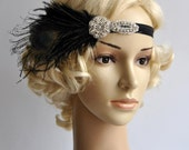 Black Flapper Feather Headband The Great Gatsby 1920s Flapper rhinestone Wedding Baby Flower Girl Headband, Vintage Art Deco headband