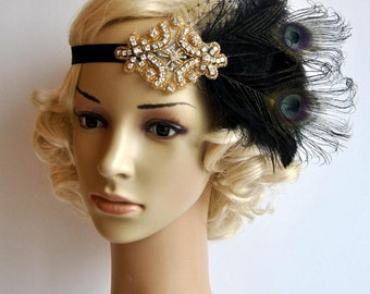 Ready to ship Black gold Flapper Feather Great Gatsby headpiece 1920s Flapper rhinestone Headband, Vintage Inspired Art Deco headband