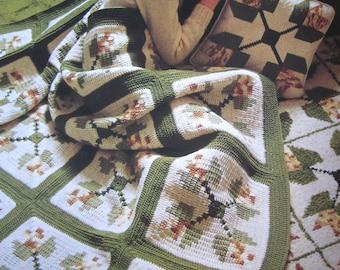 "Crochet Pattern - Peony Patchwork Afghan - 60"" x 72"""