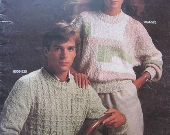 Knit Pattern Book #525 by Bernat 7 Projects to create Size Small, Medium, Large Vintage 1984