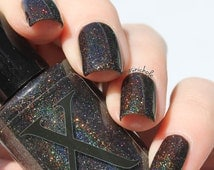 Mirror, Mirror - Pitch Black Holographic Nail Polish - Black Nail Polish with Spectraflair and Glitter- Snow White Collection