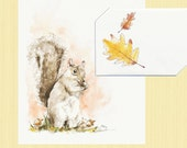 Instant Digital Printable, Autumn Squirrel with Acorns Blank Watercolor Card, Thank You Card