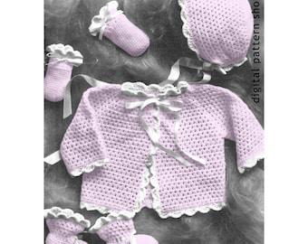 Baby Crochet Pattern Sweater Bonnet Amp Blanket Crochet Rosebud