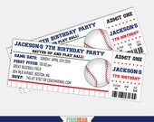 Baseball Invitation - Baseball Party Invitation - Baseball Birthday Invitation - Baseball Ticket Invitation - Printable (Instant Download)
