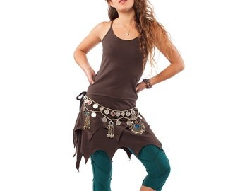 ORGANIC PIXIE DRESS, brown pixie dress, fairy dress, psy trance clothing, psy dress, festival fairy dress, tatty pixie hem dress, psy tribe