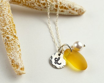 Yellow sea glass necklace with initial personalized necklace with monogram gift for mother sister friend seaglass jewelry yellow necklace