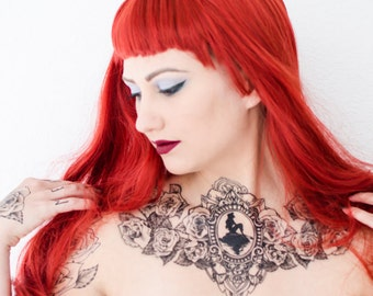The Little Mermaid Silhouette Rose Chest Tattoo