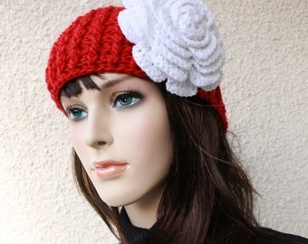 RED CROCHET HEADBAND For Adult Women - White Big Rose-Red Band - Winter Crochet Ear Warmer - Christmas Crochet Gift For Her - Ready To Ship