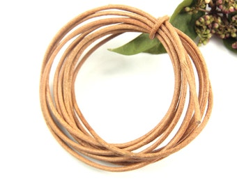 2mm Camel Natural Leather Cord, 2 mt. Natural Round Leather Cord, Genuine Round Leather Cord, Round Real Leathers, Round Leather Findings