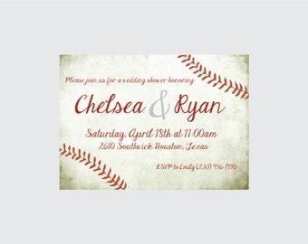 Baseball Wedding Shower Invitation- Baseball Wedding Shower Invite- Baseball Theme Wedding Shower Invitation- Baseball Invitation