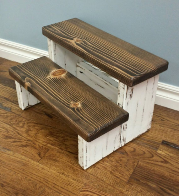 Rustic step stool wood stool farmhouse style by rusticcharmliving Bathroom step stool for kids