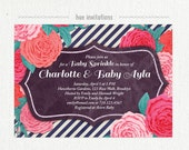 rose baby sprinkle invitation for girl, rustic baby shower printable invite, purple pink coral teal, stripes rose floral chalkboard, 5x7 446