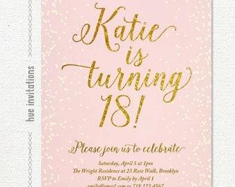 Pink gold glitter 18th birthday invitation for girl modern 18th birthday invitation for girl teen pink and gold glitter digital invitation modern teen stopboris Images