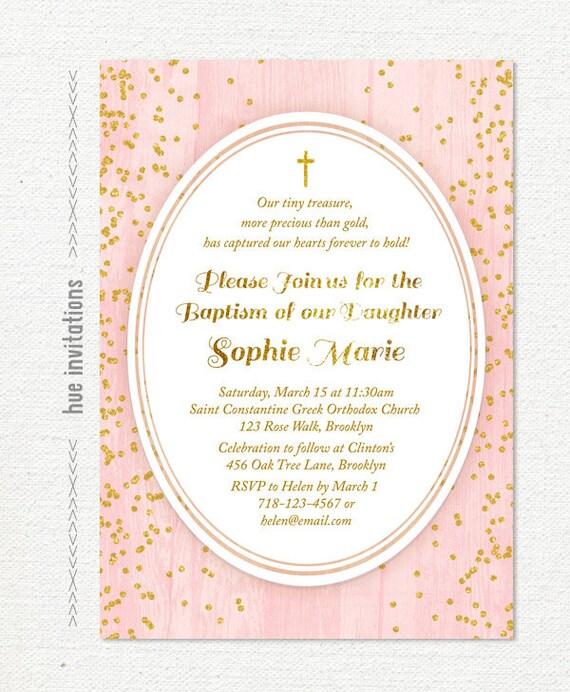 Blush pink and gold glitter baptism invitation chic modern like this item stopboris Choice Image