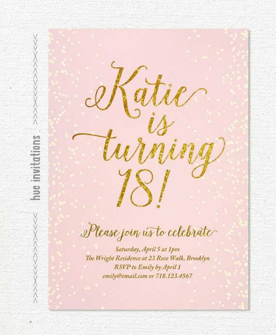 pink gold glitter 18th birthday invitation for girl modern – Invitation for 18th Birthday