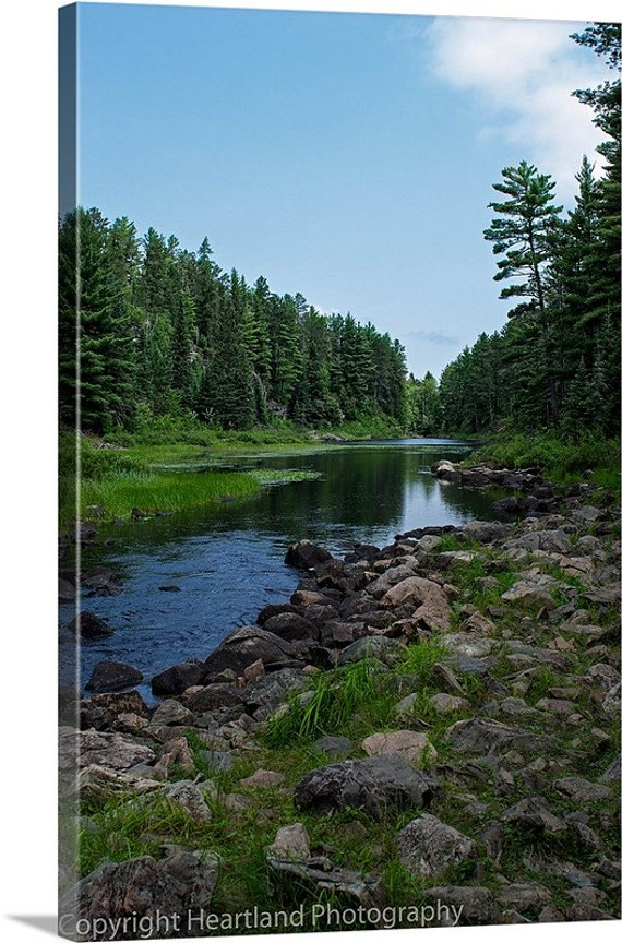 Canvas Wall Art, Boundary Waters, BWCA Landscape, Minnesota Photo, Nature Photography, Blue and Green, Fine Art Canvas, River Bed Image