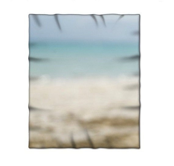 Fleece Blanket, Photo Products, Abstract Photography, Ocean Colors, Beach Themed, Tropical Decor, Blue Ombre Coloring, Blue Beige Neutral