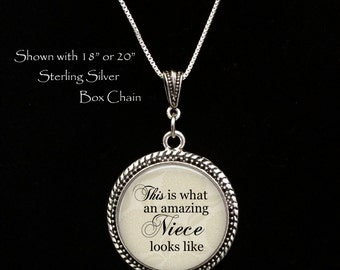 """Gift for Niece - """"This is what an amazing niece looks like"""" - Handcrafted Pendant Necklace - Niece Pendant Necklace - Niece Birthday gift"""