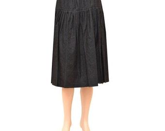 Baby'O Women's Black Original BIZ Style Below the Knee Length Short Denim Skirt, 8327D BLK