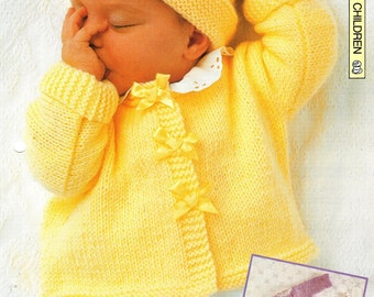 "Knitting pattern - Baby's ""Baby Jackets"" cardigan and hat - Instant download"