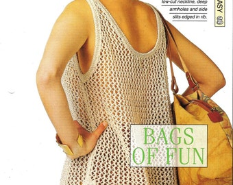 """Knitting pattern - Woman's top vest """"Bags of Fun"""" - Instant download"""
