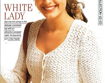 "Crochet pattern - Woman's ""White Lady"" top - Instant download"