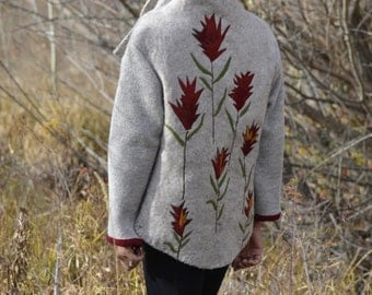Indian Paintbrush Bison-Wool Felted Jacket