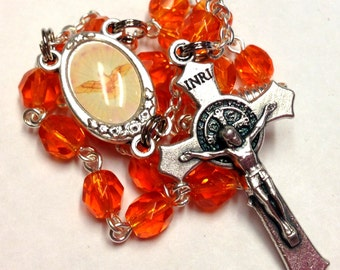 Holy Spirit Auto Rosary/Car Rosary 2 Decades with Orange Czech Glass Beads and St Benedict Crucifix