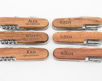 Ring Bearer Gift, 14 Engraved Pocket Knifes, Personalized Groomsmen Gift, Personalized Wedding Favor, Knife