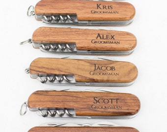 Ring Bearer Gift, 4 Engraved Pocket Knifes, Personalized Groomsmen Gift, Personalized Wedding Favor, Knife