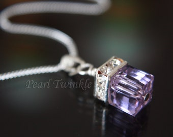 Violet Crystal Pendant, Swarovski Crystal, Pendant Necklace, Purple Crystal, Lilac Crystal Pendant, Christmas Bridal Bridesmaid Wedding