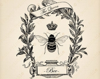 Vintage QUEEN BEE CROWN Instant Download Printable - Ornate Frame - Fabric Image Transfer - iron on, tea towels, cushion, pillow t-shirt