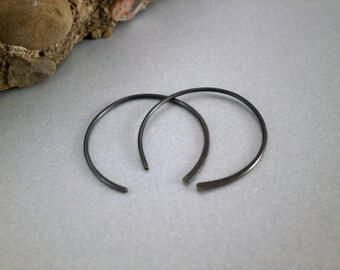 Oxidized Sterling Silver Hoops Half Hoop Earring Hammered Sterling Earrings Minimalist Jewelry Gray Earring Modern Artisan Metalwork Jewelry